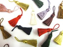 10 Mini craft tassels Small 3.5cm + 2cm loop long decorative Key cushion tassel